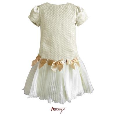Annys高級訂製壓紋高緞蝴蝶結禮服 5205卡其