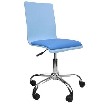 邏爵家具 香彩藍彩曲木皮墊事務椅/電腦椅
