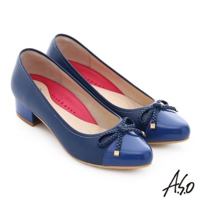 A.S.O 職場女力 真皮鏡面甜美蝴蝶繩結高跟鞋 藍色