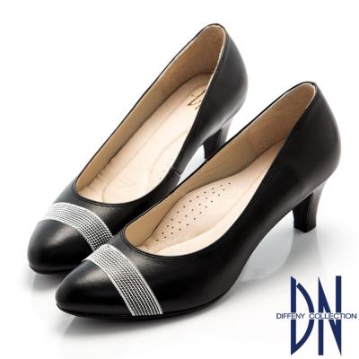 DN 氣質女伶 OL緞帶妝點全真皮跟鞋-黑