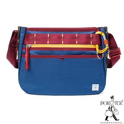 PORTER - 活力無限GEAR UP圓弧造型斜背包 - 藍配紅