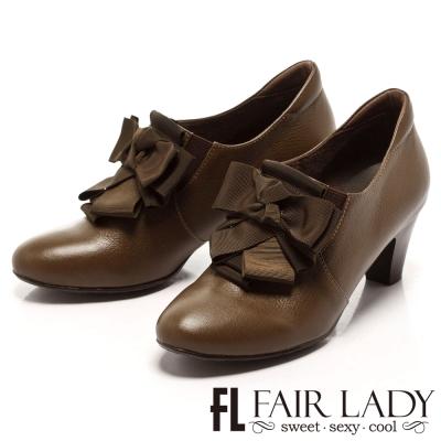 Fair Lady 獨特百摺結飾高跟踝靴 橄欖綠