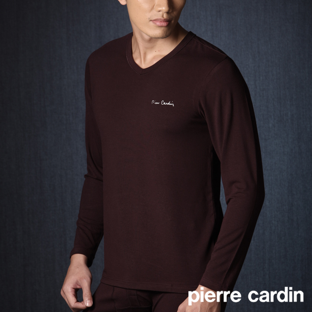 【Pierre Cardin皮爾卡登】發熱V領保暖衣 (咖)