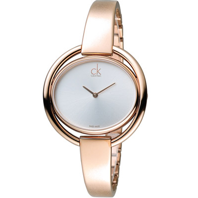 CK Calvin Klein impetuous 纏綿鏤空經典造型腕錶-玫瑰金色/40m