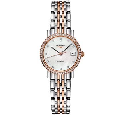 LONGINES 浪琴 Elegant 優雅系列真鑽機械女錶-珍珠貝x雙色/25.5mm