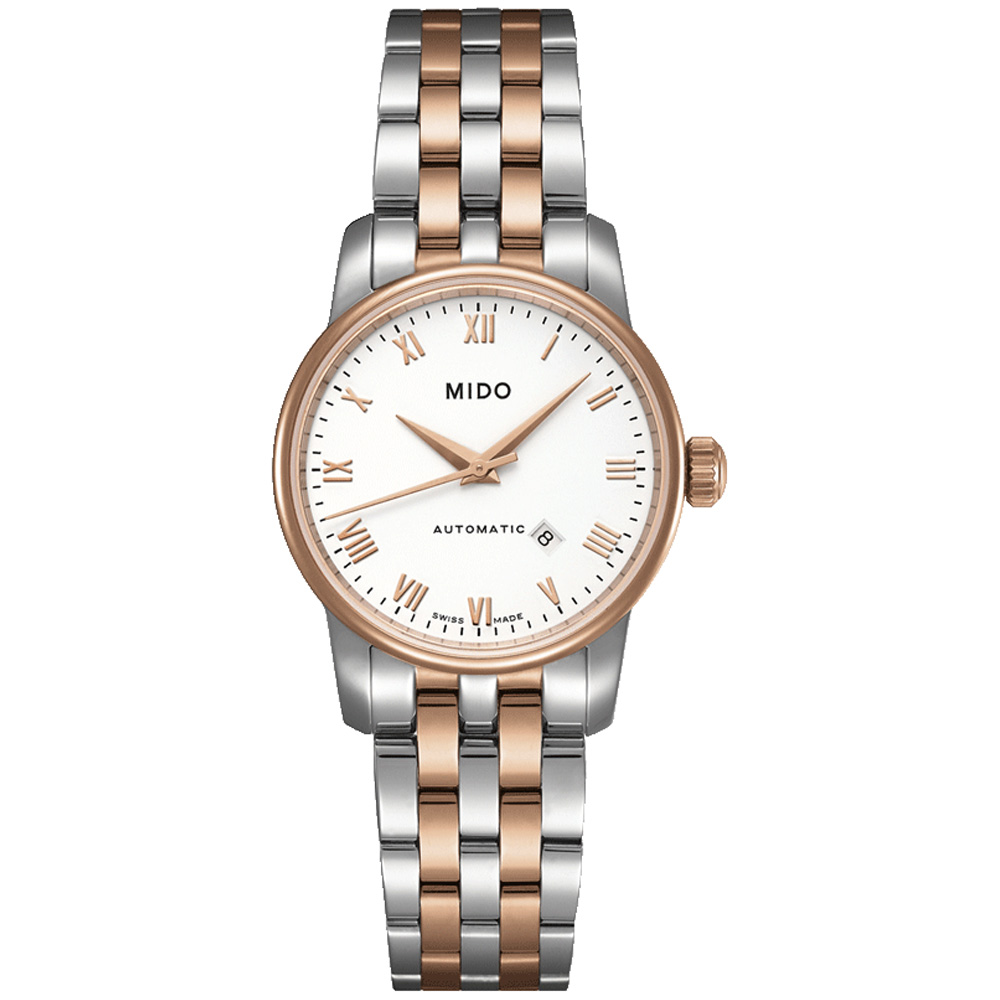 MIDO美度Baroncelli永恆系列簡約機械鍊帶錶-玫瑰半金/29mm