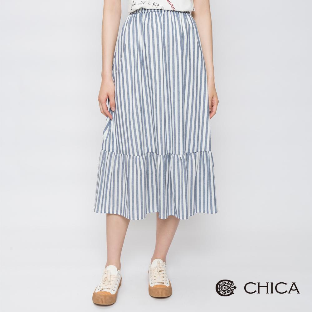 CHICA 日系田園條紋拼接中長裙(2色)