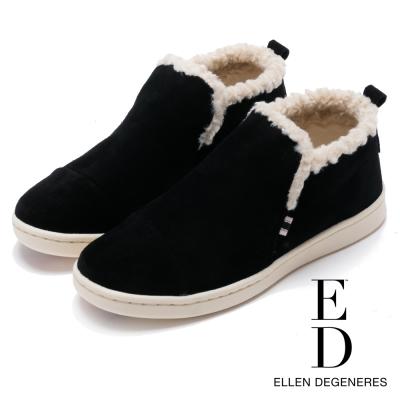 ED Ellen DeGeneres 溫暖麂皮平底低筒靴-絨黑