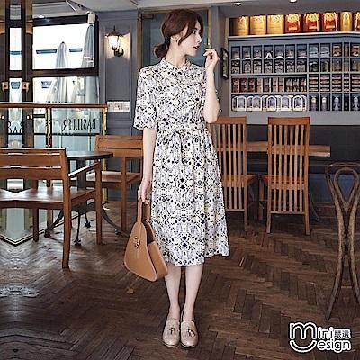 立領排釦鬆緊腰印花中長款連身裙(贈腰帶)-mini嚴選