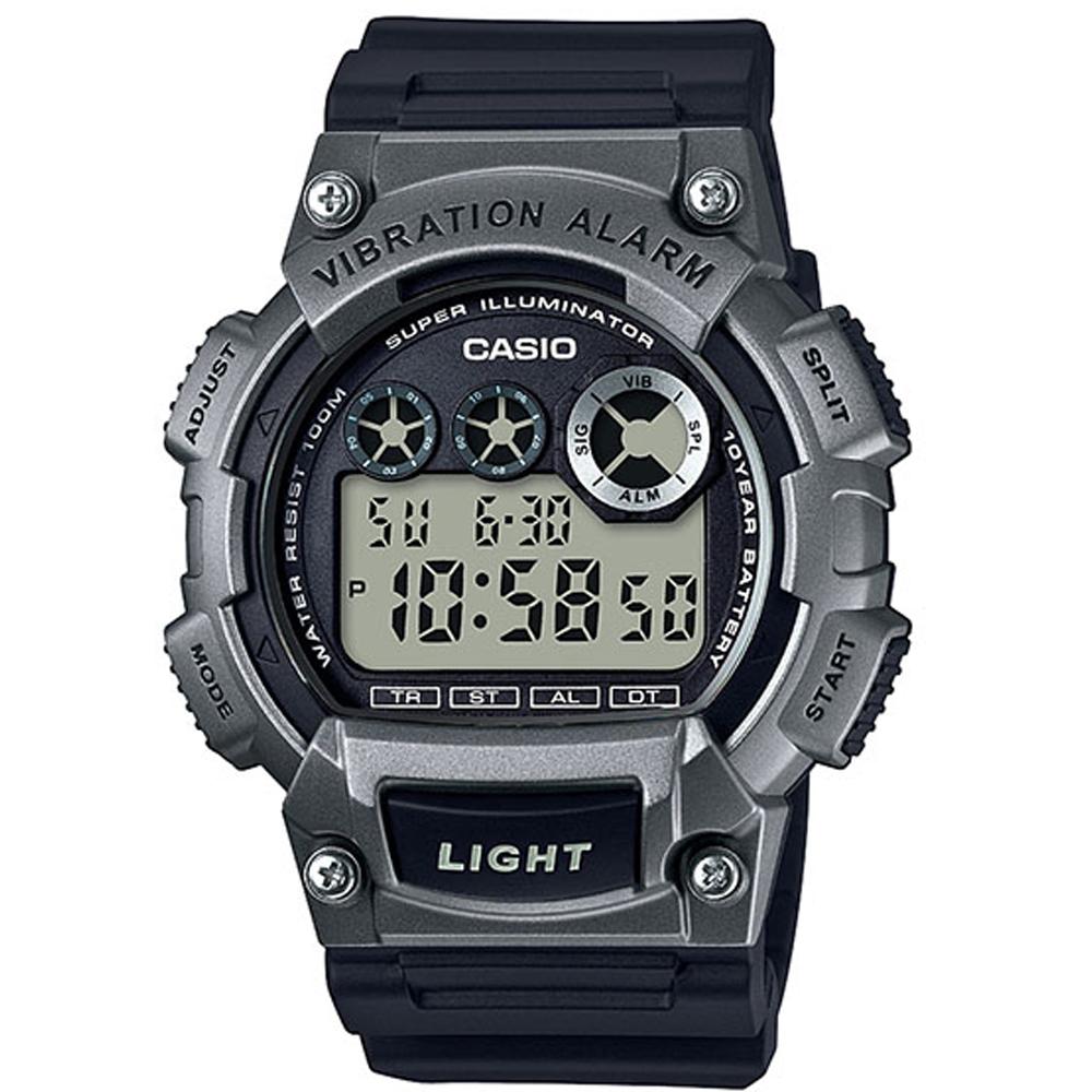 CASIO 超亮LED強悍震動數位運動錶(W-735H-1A3)-鐵灰色/47mm