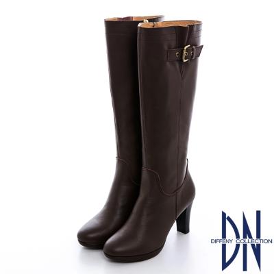 DN 經典美型 MIT牛皮金屬釦修身粗跟長靴 深咖