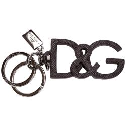 DOLCE & GABBANA Logo皮革鑰匙圈(深咖啡)