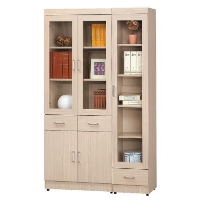 AS 塔克白橡色3.9尺書櫥 119x32x185cm