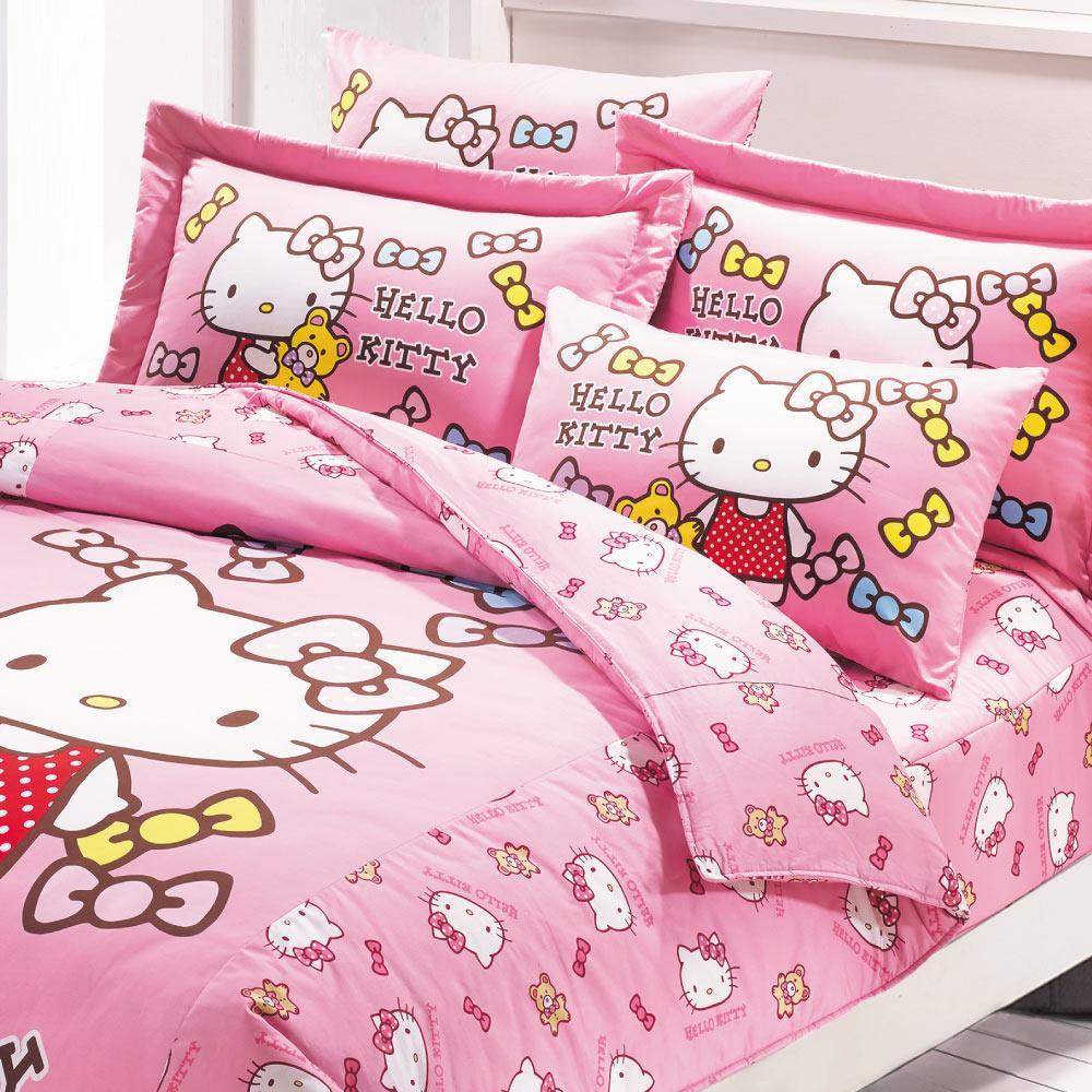 鴻宇 美國棉 抗菌 Hello Kitty 哈尼小熊-單人兩用被套