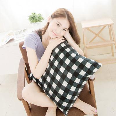 奶油獅 格紋系列-台灣製造-100%精梳純棉可拆洗方型抱枕(含枕心)50CM(黑)