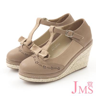 JMS-異材質拼接蝴蝶結T字楔型娃娃鞋-卡其色