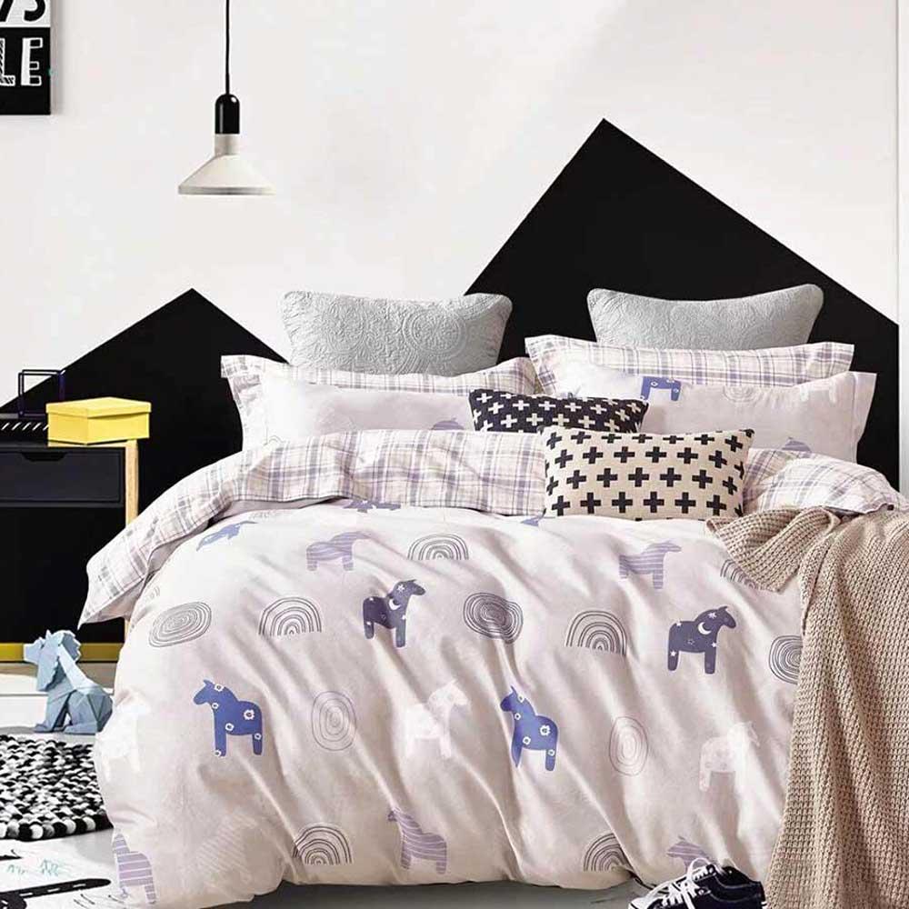 Ania Casa 台灣製 100%純棉 - 雙人床包枕套三件組- 牧馬人