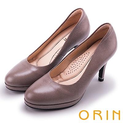 ORIN 簡約時尚名媛 質感素面蜥蜴壓紋牛皮高跟鞋-可可