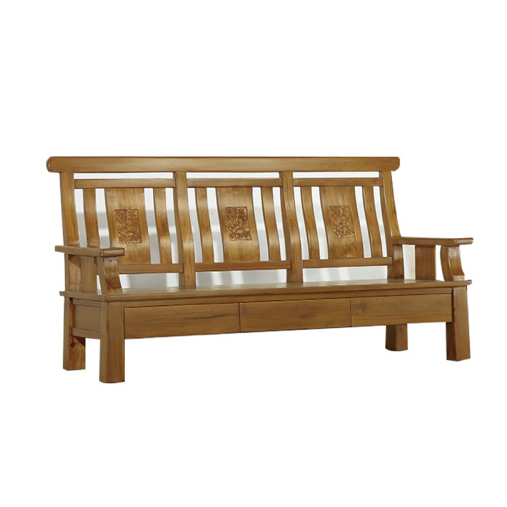 品家居 路彼特柚木實木三人椅-188x70x101cm-免組