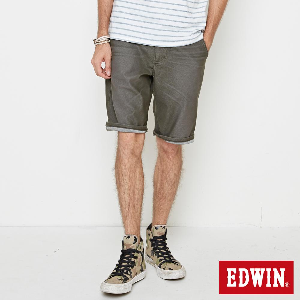 EDWIN 迦績褲JERSEY寬鬆色褲短褲-男-橄欖綠