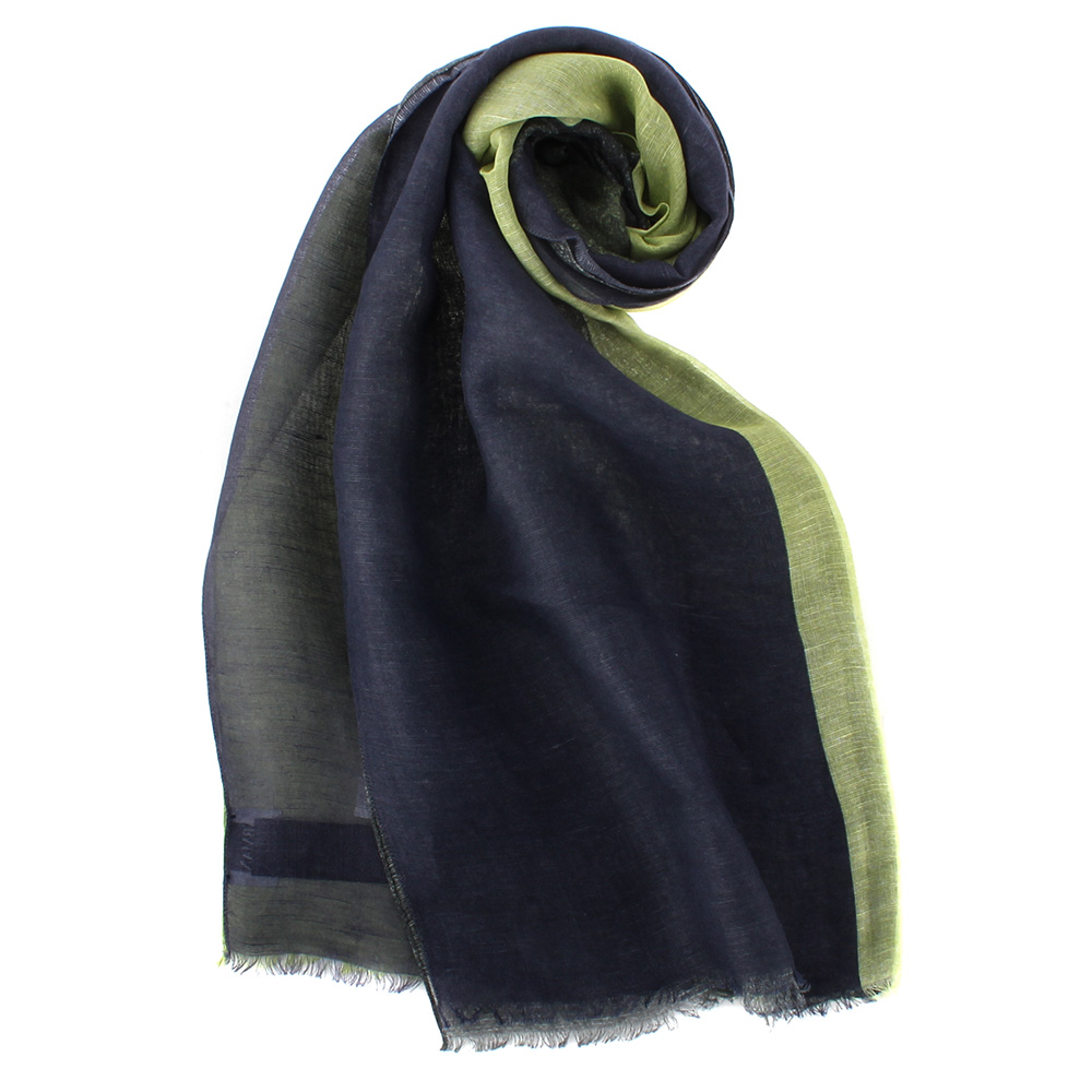 ARMANI COLLEZIONI 素面撞色混絲披肩圍巾-深藍/草綠