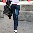 正韓 漸層洗色抓鬚刷破牛仔褲 (藍色)-N.C21