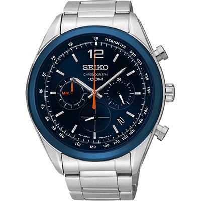SEIKO 逆轉世界三眼計時腕錶(SSB091P1)-藍/45mm
