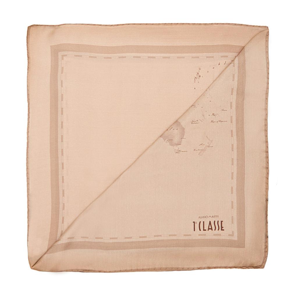 Alviero Martini 義大利地圖包 經典航海地圖紋絲巾/M-秋香杏