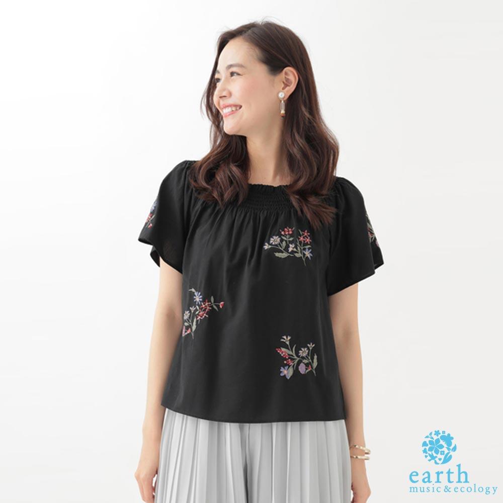 earth music 2WAY領口露肩設計花柄刺繡上衣
