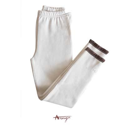 Annys百搭舒適彈性水鑽荷葉點點襪褲*5658米白