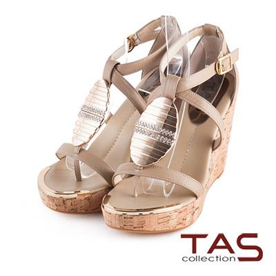 TAS-層次交叉繫帶金屬水鑽質感楔型涼鞋-深卡其