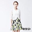 IGD英格麗 悠閒風浪漫雪花蕾絲短版五分袖造型西裝外套-白
