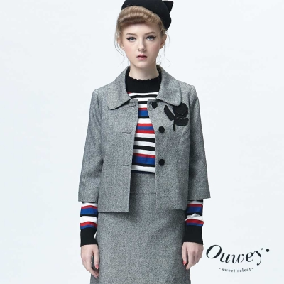 OUWEY歐薇-立體花朵刺繡小外套