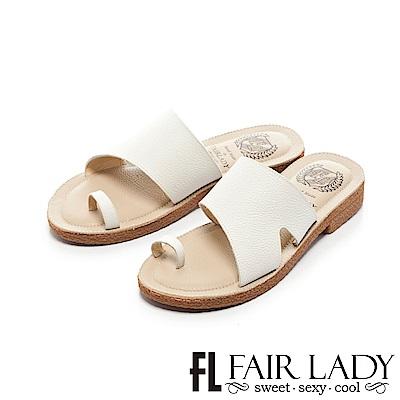 Fair Lady Soft Power軟實力 造型寬帶穿趾平底涼拖鞋 白