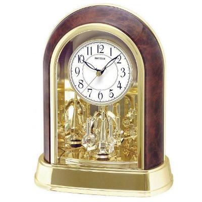 RHYTHM 日本麗聲 英倫情人 旋轉座鐘/桌鐘兩用-白/21.3x27.1cm