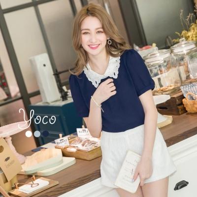 東京著衣-yoco 多色女孩感刺繡領短袖襯衫-S.M.L(共三色)