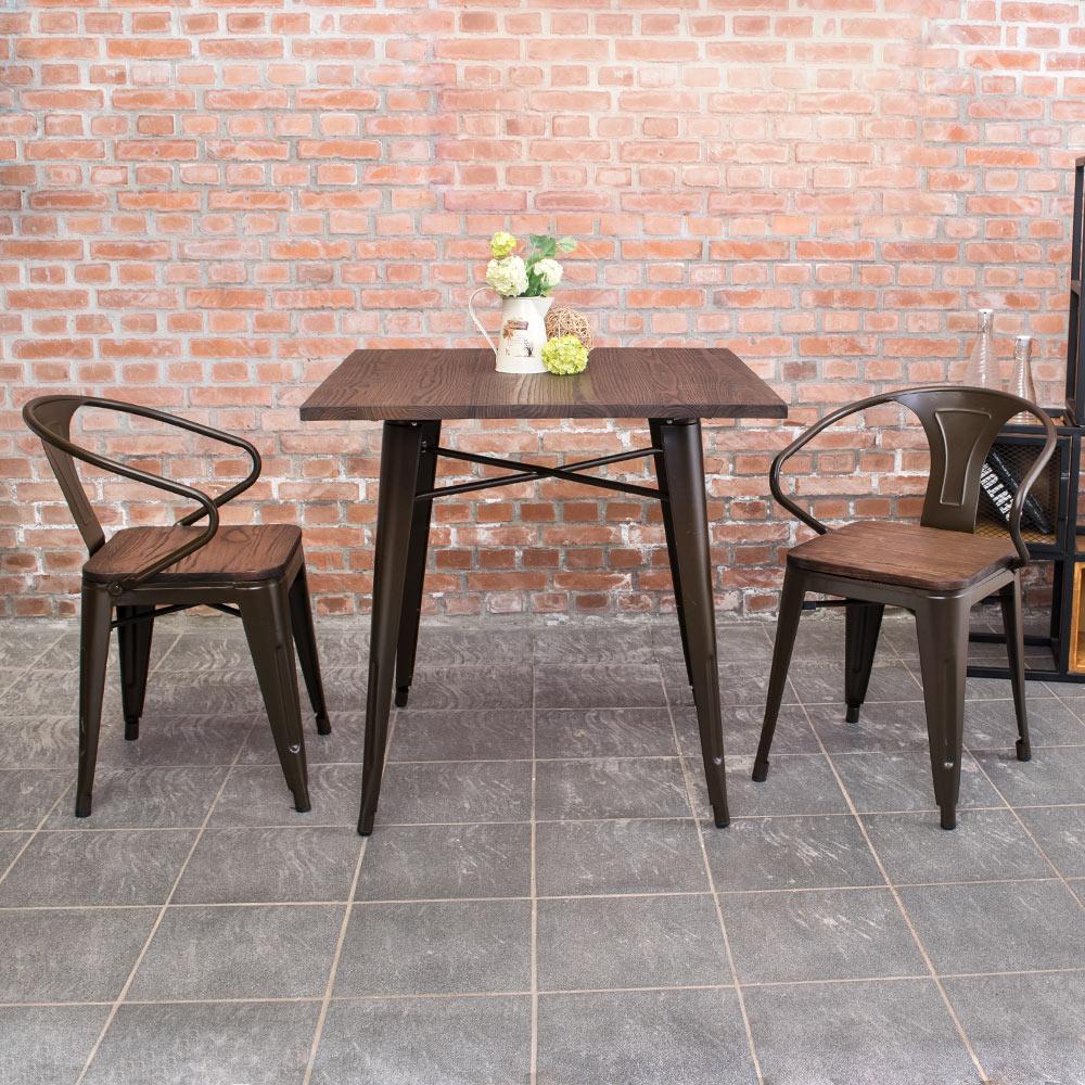 Boden-布魯克2.7尺工業風實木鐵腳餐桌椅組(一桌二椅)-80x80x78cm