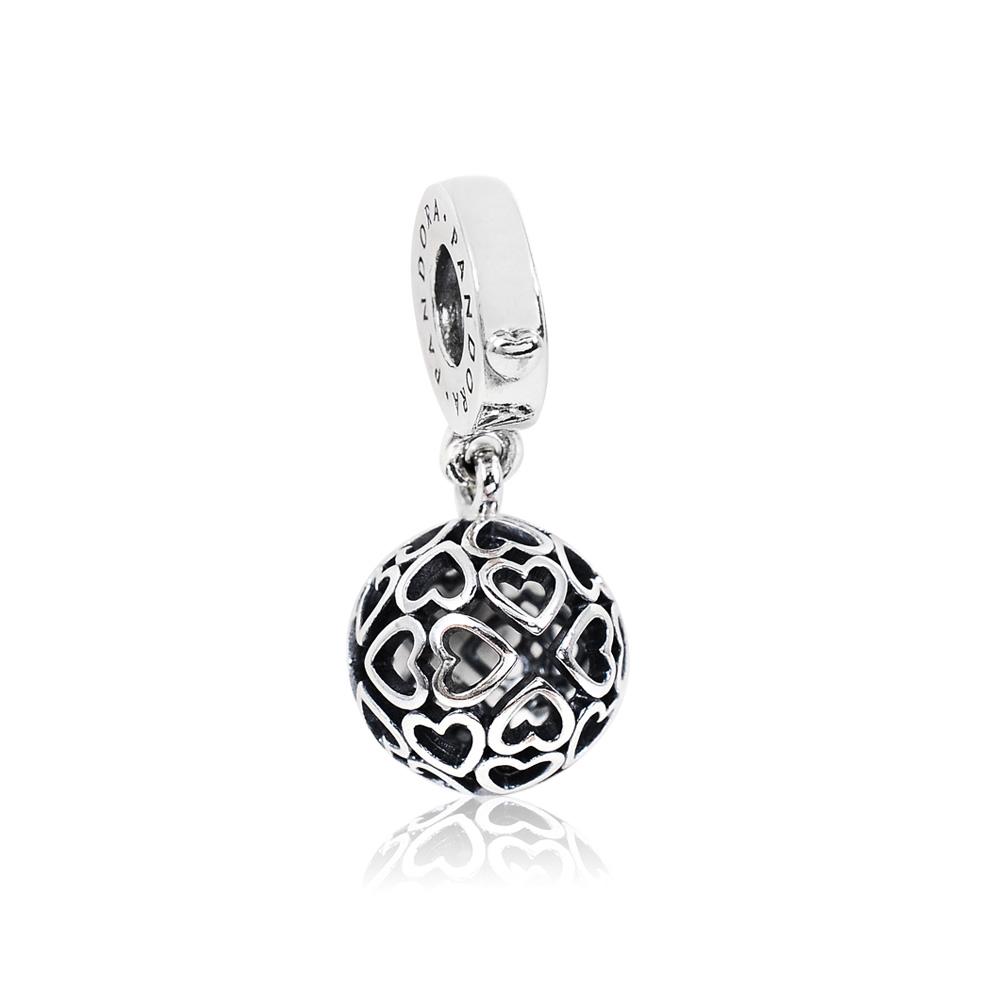 Pandora 潘朵拉 圓形鏤空和諧之心 垂墜純銀墜飾 串珠