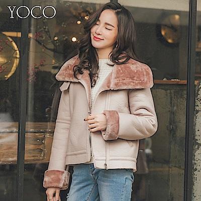 東京著衣-yoco 粉色女孩鋪毛翻領袖口皮外套-S.M.L(共一色)