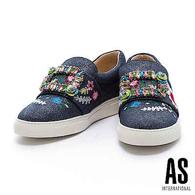 休閒鞋 AS 玩味繽粉水鑽方釦點綴刺繡牛仔布厚底休閒鞋-深藍