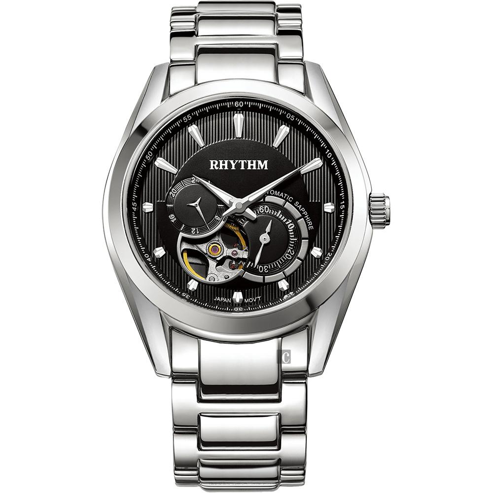 RHYTHM日本麗聲 紳士鏤空機械錶-黑x銀/45mm A1402S02