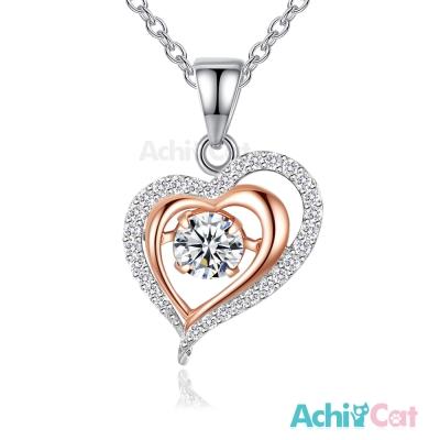 AchiCat 925純銀 跳舞的項鍊 愛相隨 愛心 鎖骨鍊 銀色
