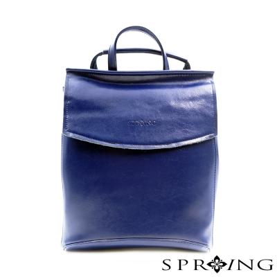 SPRING-後背包 經典極簡牛皮多way包 (藍)