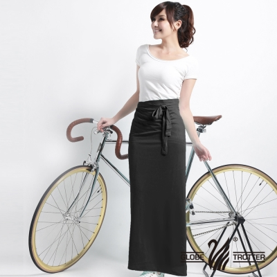 【遊遍天下】MIT台灣製涼感抗UV防曬吸排多功能一片裙117(加大尺碼)黑色