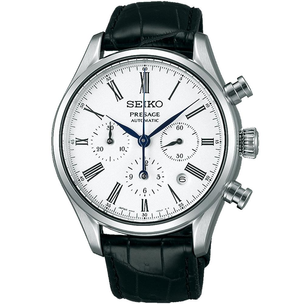 SEIKO 精工Presage 限量琺瑯工藝 計時機械錶(SRQ023J1)-白/42mm