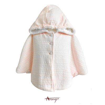 Annys粉嫩白雪內裡刷毛連帽披風外套*5672粉