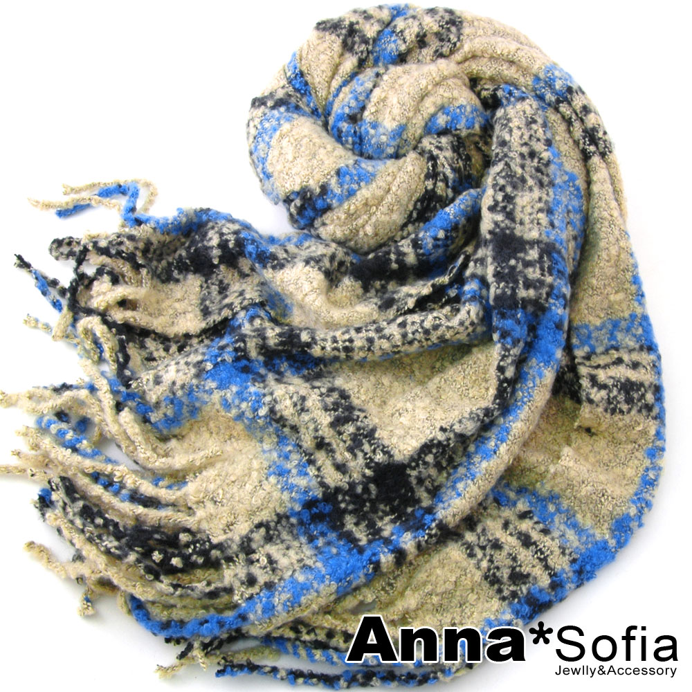 AnnaSofia 虛線格圈絨款 鬆軟毛線織圍巾(米底藍線)
