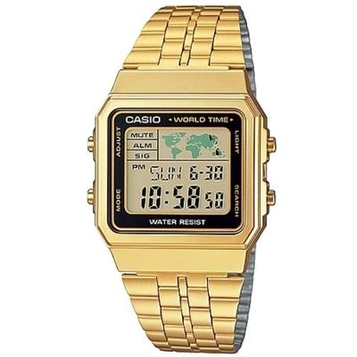 CASIO 復古風數字復刻地圖液晶顯示腕錶(A-500WGA-1A)-金X黑框/34mm