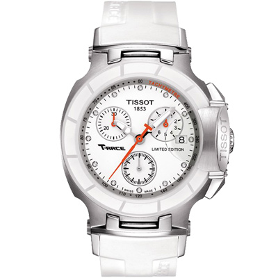 TISSOT T-RACE LADY 計時陶瓷真鑽腕錶-白/36.65mm