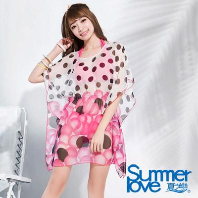 夏之戀SUMMERLOVE 比基尼泳裝 沙龍外搭洋裝 粉紅花朵